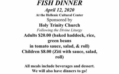 Palm Sunday Fish Dinner 2020